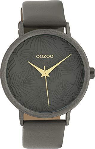 Oozoo Damenuhr mit Blätter Palmen Muster Zifferblatt und Lederband 42 MM Grau/Grau/Grau C10084