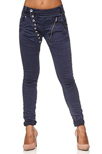 Elara Damen Jeans | Knopfleiste | Reißverschluss | Chunkyrayan C613K-7/FH Marine 46