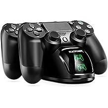 PS4 Controller Ladestation, ECHTPower Dual Dualshock 4 Ladegerät Charger, Doppeltes Schnellladegerät mit LED-Anzeige für PlayStation 4 / PS4 Slim / PS 4 Pro Wireless Controller Gamepad (Grün+ Rot LED)