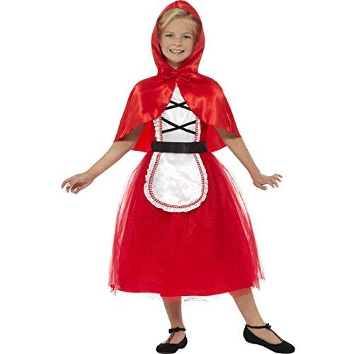 Red Hood Kostüm Riding Kinder - Kinderkostüm Rotkäppchen - M, 7 - 9 Jahre, 130 - 143 cm - Märchenkostüm Kind Red Riding Hood Faschingskostüm Mädchenkostüm Märchen Karnevalskostüm Mädchen Rotkäppchenkostüm Mädchen