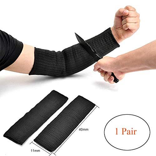 Ideapro- 1 paio di maniche-custodia di protezione per le braccia, in kevlar nero, resistenti al taglio, anti-ustioni, anti-abrasione, sicurezza per giardino, cucina, lavori agricoli