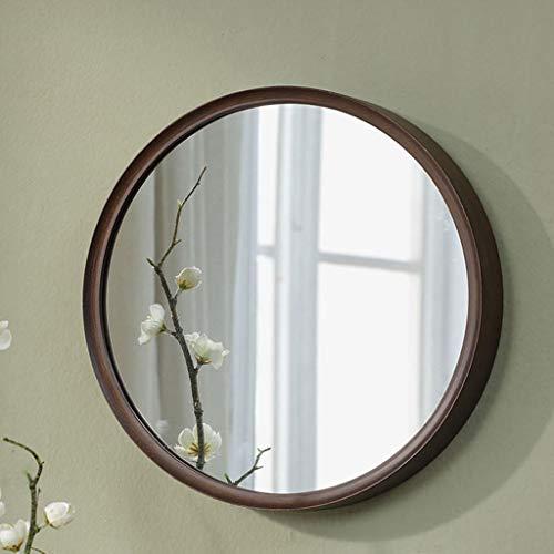 PLL Amerikanischen Stil Holz Schlafzimmer Spiegel Badezimmer Spiegel Dressing Wand Mirrormakeup Runde Spiegel Hängenden Spiegel (Size : L)