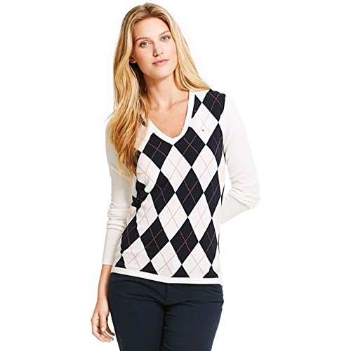 Tommy Hilfiger Damen Pullover, Women's Argyle Sweater, X-Large - Argyle Damen-pullover