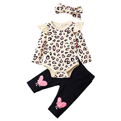 Ucoolcc Neugeborenes Babykleidung Baby Mädchen Bekleidungssets 3tlg Sets Langarm Body Strampler Tops + Blumen Hose + Stirnband Sommer Freizeit Outfits