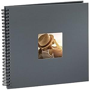 Hama Jumbo Fotoalbum (36 x 32 cm, 50 schwarze Seiten, 25 Blatt, mit Ausschnitt für Bildeinschub) Fotobuch grau