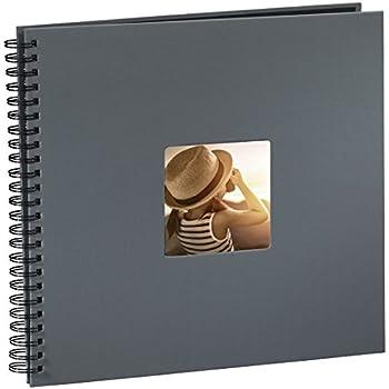 Hama Jumbo Fotoalbum (36 x 32 cm, 50 schwarze Seiten, 25 Blatt, Mit Ausschnitt für Bildeinschub, Fotobuch) grau