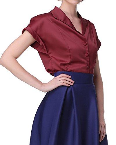 ZAFUL Damen Elegant Blusenshirt Satin Einfarbig Abend Hemd Vintage Oberteil mit Knopfleiste in Vier Farben Weinrot