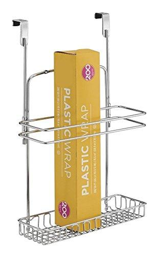mDesign Aufbewahrungskorb für hohe Küchen- und Badutensilien – praktischer Regalkorb aus Stahl in Chromoptik – einfach zu montierender Schrankkorb zum Einhängen