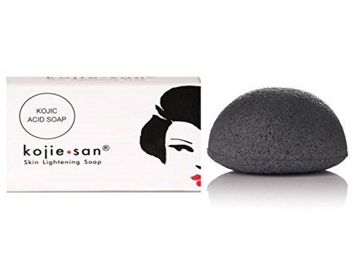 Kojie San 1x135g Skin Lightening Soap + Bamboo Charcoal Konjac Sponge
