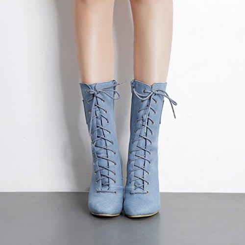 ALUK- Autunno e inverno - scarpe ruvide con tacco alto e stivali alla moda con straps Martin ( Colore : Blu , dimensioni : 39-foot length 245cm ) Blu