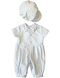 100% algodón de color blanco body con sombrero bautizo bendición trajes para recién nacido 0691b