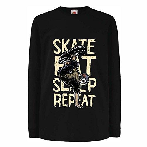 lepni.me Kinder-T-Shirt mit Langen Ärmeln Eat-Sleep-Skate-Repeat Fro Skateboard Liebhaber, Skateboarder Geschenke, Skateboarden Kleidung (3-4 Years Schwarz Mehrfarben)