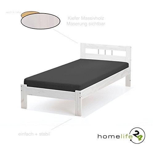 Bett 90x200 cm Einzelbett Holzbett Massivholzbett weiß lackiert Kiefer massiv (Lackiert Weiß Bett)