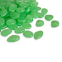 100PCS Glow in Dark Garden Pebbles fluorescence Stones for Walkway Decor Plants Party-Green