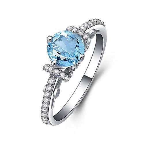 SonMo Silber 925 Ring Paarringe Eheringe Heiratsantrag Ring Silber Schmal Runde Stein Knot Design Solitär Ring Hellblau Topas Rundschliff Ring Damen Kreis Zirkonia 62 (19.7)