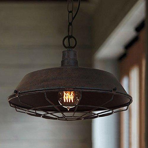 Hahaemall, E27, Lampada da soffitto, modello industriale, con barra di fissaggio in metallo, finitura con vernice color bronzo