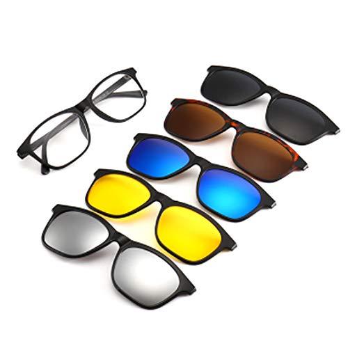 hlq Universal Outdoor Gläser, Men es Sonnenbrille, UV400 Polariisierte Lens Retro Magnetic Clamps Sichtbare Lichtperspektive 99% Ultra Light 6 Piece Set,2209T