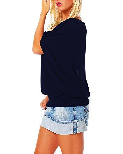 StyleDome Damen Chiffon Batwing Kurzarm Locker Laufen Einfarbig T- Shirt Bluse Dunkelblau