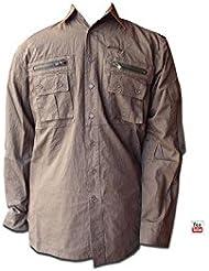 552e186ed5a TUCUMAN AVENTURA - Camisa algodon para el camino de santiago (marron  verdoso
