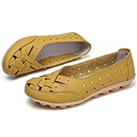 Comfy Slipony Women's Moccasins Womens Ladies Girls Boat Shoes,Hollow Wide Width Slip On Casual Leather Flat Loafers Ballet Shoes (9, Yellow)