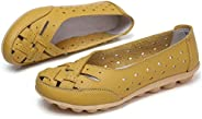 Comfy Slipony Women's Moccasins Womens Ladies Girls Boat Shoes,Hollow Wide Width Slip On Casual Leather Fl