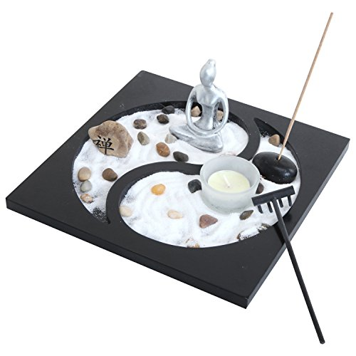 Zen arena rocas portavelas Taiji Yin Yang de mesa rastrillo de jardín (quemador de incienso regalo