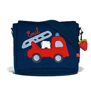 Kindergartentasche & Kindergartenrucksack in einem: Feuerwehr für Jungen (mit Namen) in blau
