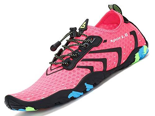 SAGUARO Kinder Badeschuhe Damen Wasserschuhe Mädchen Barfuss Schuhe Aquaschuhe Schwimmschuhe Strandschuhe Frauen Wassersportschuhe,Stil 1: Pink 37 EU