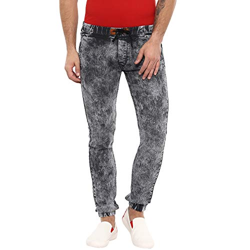 Urbano Fashion Men's Dark Grey Slim Fit Jogger Jeans Stretchable