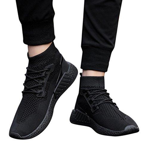 Somesun moda scarpe basse da uomo scarpe moda uomo alta cima suola morbida in esecuzione di massaggio traspirante leggero scarpe da ginnastica scarpe calze morbide (eu43, nero)