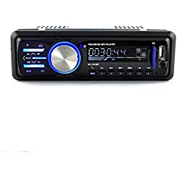 Radio de Coche, Rixow Autoradio Reproductor Estéreo Bluetooth de Coche, Apoyo de Reproductor MP3, Llamadas Manos Libres, Función de FM, USB, Micro SD (TF), AUX, Puerto de Carga, Enchufe de ISO