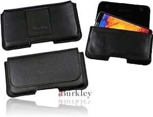 Burkley Pochette de protection et de transport en cuir véritable à fixer à la ceinture pour LG G2 Fermeture magnétique Noir