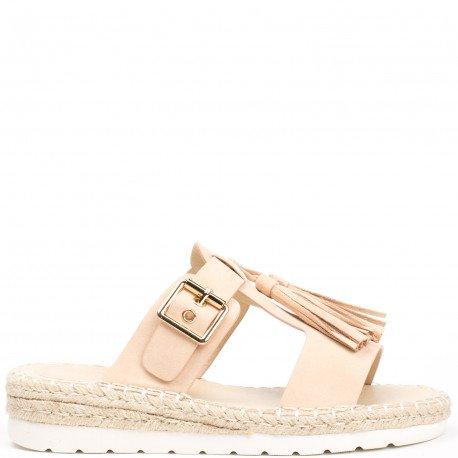 Ideal Shoes - Mules effet daime avec franges et ceinturon Lanais Rose