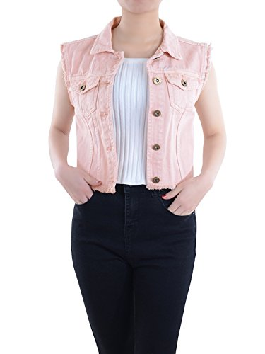 Anna-Kaci Damen Blau Denim Distressed Ausgefranst Button Up ärmellos Jeans Jacke Weste, L, Pink Button Weste