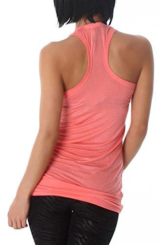 Damen Tank Top, langes Top ärmelfrei und in vielen Farben erhältlich (34-38) Salmon Pink