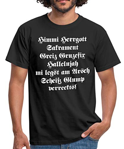Spreadshirt Himmi Herrgott Sakrament Bayrisch Männer T-Shirt, L, Schwarz