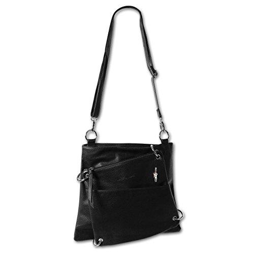 JENNIFER JONES 3900 Damen Tasche, Umhängetasche 2 in 1 in 5 Farben 34x31x5 (schwarz black) (Vorderseite Tasche Kragen Der Auf)