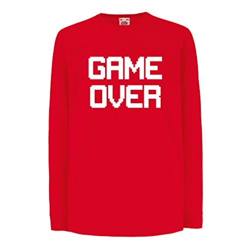 Kinder-T-Shirt mit langen Ärmeln Spiel über lustige Gamergeschenke (3-4 years Rot Weiß)