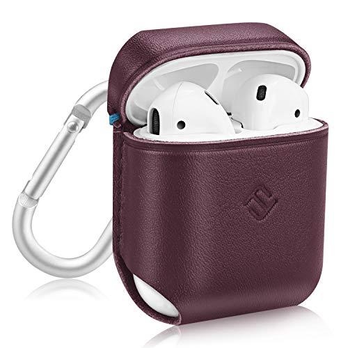 Fintie Custodia per Apple AirPods, Chiusura Magnetica Portatile Cover Protettiva Case [con Chiusura in Metallo e Portachiavi] per Apple AirPods Cuffie, Borgogna (vero cuoio)
