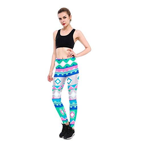 Jiayiqi Femme 3D Print Leggings Confortables Leggings Serrés Pantalons De Yoga M-XL Géométrie 4