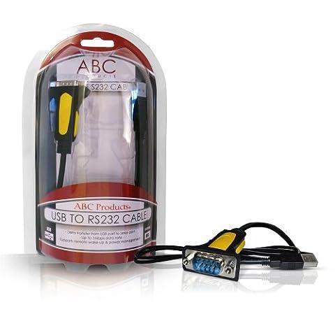 ABC Products® USB Vers Serie / 9 Pin / DB9 / Serial / RS-232 / RS232 Câble Adaptateur Adapter Adaptor Convertisseur Converter Convertor Prolific Chipset PL2303RA pour PDA Barcode SAT NAV GPS ou système de navigation etc PC et MAC Supports WIN 98SE, 2000, XP, Vista, 7, 8, MAC os V8.6~9.2