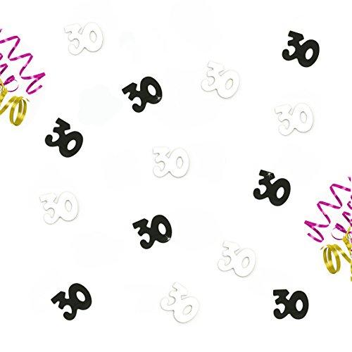 Oblique Unique® Zum 30. Geburtstag Silber und Schwarzes Tisch Konfetti mit Spiegeleffekt - über 800 Stück