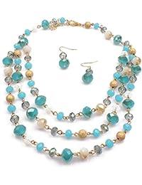 3975253a31b8 Conjuntos de collar y aretes de bisutería 18 pulgadas collar largo para las  mujeres hecho a