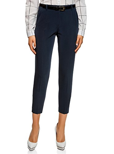 Oodji collection donna pantaloni stretti con cintura, blu, it 44 / eu 40 / m