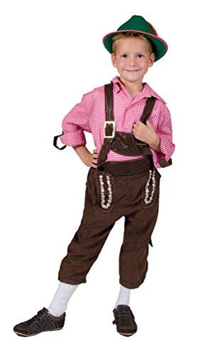 Kind Lederhosen Kostüm - Karneval-Klamotten Kostüm Lederhose Junge Tiroler Marcus Bayernhose Trachten-Hose Kinder Oktoberfest Jungenkostüm 116