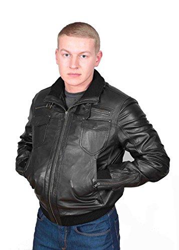 Herren Gepaßte Bomber Lederjacke Designer weiche hochwertige Mantel George Schwarz - 3