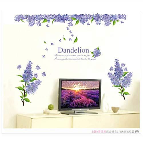 Wandaufkleber Landhausstil Lila Lavendel Diy Vinyl Abnehmbare Tapete Wohnzimmer Fernseher/Sofa Hintergrund Dekor Wandbild Aufkleber Tapete
