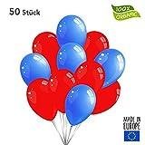 50 Premium Luftballons in Rot/Blau - Made in EU - 100% Naturlatex somit 100% giftfrei und 100% biologisch abbaubar - Geburtstag Party Hochzeit Silvester Karneval - für Helium geeignet - twist4®