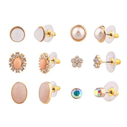 Lux accessori in finta perla floreale cristallo ovale pietra più set di orecchini a perno da donna e bambini