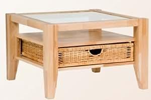 couchtisch kernbuche massiv mit glaseinlage und korb ge lt k che haushalt. Black Bedroom Furniture Sets. Home Design Ideas